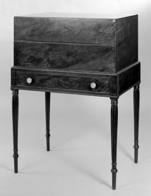 American. <em>Box Desk on Sheraton Frame</em>, 1800-1815. Mahogany, mahogany veneer, satinwood veneer, pine, Height: 38 3/16 in. (97 cm). Brooklyn Museum, Bequest of Samuel E. Haslett, 20.917. Creative Commons-BY (Photo: Brooklyn Museum, 20.917_bw.jpg)