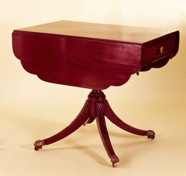 American. <em>Two-Leaf Table with Carved Urn Shaped Pedestal</em>, 1810-1820. Mahogany, pine, maple, Height: 29 7/8 in. (75.9 cm). Brooklyn Museum, Bequest of Samuel E. Haslett, 20.926. Creative Commons-BY (Photo: Brooklyn Museum, 20.926_IMLS_SL2.jpg)