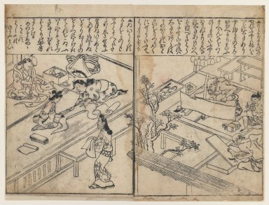 Hishikawa Moronobu (Japanese, 1618-1694). <em>Women Dressmaking (left) and Artisans at Work (right)</em>, 1680-1690. Woodblock print on paper, 13 x 9 1/4 in. (33 x 23.5 cm). Brooklyn Museum, Museum Collection Fund, 20.929 (Photo: Brooklyn Museum, 20.929_IMLS_PS3.jpg)