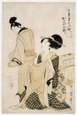 Kitagawa Utamaro (Japanese, 1753-1806). <em>Visiting Komachi, from the series Little Seedlings: Seven Komachi</em>, ca. 1803. Color woodblock print on Japanese mulberry paper, 15 x 9 15/16 in. (38.0 x 25.0 cm). Brooklyn Museum, Museum Collection Fund, 20.930 (Photo: Brooklyn Museum, 20.930_IMLS_SL2.jpg)