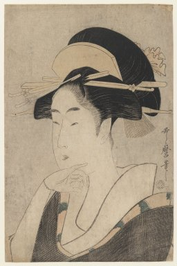 Kitagawa Utamaro (Japanese, 1753-1806). <em>Land of Geisha</em>, ca. 1796. Color woodblock print on paper, oban tateye (sheet): 15 1/16 x 9 7/8 in. (38.3 x 25.1 cm). Brooklyn Museum, Museum Collection Fund, 20.931 (Photo: Brooklyn Museum, 20.931_IMLS_PS3.jpg)