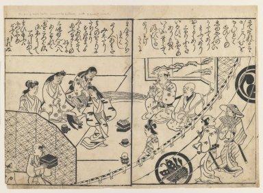 Hishikawa Moronobu (Japanese, 1618-1694). <em>Performing a Joruri Dance</em>, 1680-1690. Woodblock print on paper, 9 3/8 x 12 15/16 in. (23.8 x 32.8 cm). Brooklyn Museum, Museum Collection Fund, 20.933 (Photo: Brooklyn Museum, 20.933_IMLS_PS3.jpg)