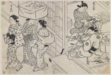 Nishikawa Sukenobu (Japanese, 1671-1750). <em>Brocade Making by Women</em>, ca. 1730-1736. Woodblock print on paper, Image: 13 7/8 x 9 3/8 in. (35.2 x 23.8 cm). Brooklyn Museum, Museum Collection Fund, 20.936 (Photo: Brooklyn Museum, 20.936_IMLS_PS3.jpg)