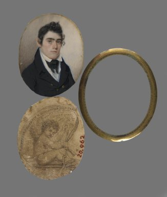Eliab Metcalf (American, 1785-1834). <em>Portrait of John Haslett, M.D.</em>, ca. 1822. Watercolor on ivory portrait, printed business card (backing paper), and brass liner and lens, Image: 3 x 2 5/16 in. (7.6 x 5.9 cm). Brooklyn Museum, Bequest of Samuel E. Haslett, 20.962 (Photo: Brooklyn Museum, 20.962_PS2.jpg)