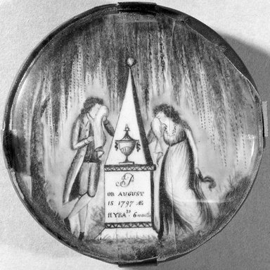 """Unknown. <em>Mourning Miniature for """"JB,""""</em> ca. 1797. Watercolor on ivory mounted in wood frame with glass lens, Image (sight): 2 7/16 x 2 7/16 in. (6.2 x 6.2 cm). Brooklyn Museum, Bequest of Samuel E. Haslett, 20.963 (Photo: Brooklyn Museum, 20.963_acetate_bw_SL1.jpg)"""