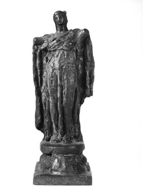 Helen Farnsworth Mears (American, 1871-1916). <em>Armless Angel</em>, Modeled 1911; Cast 1916. Bronze, 16 5/8 x 6 1/8 x 6 1/16 in. (42.2 x 15.6 x 15.4 cm). Brooklyn Museum, Gift of Mary Mears, 20.990.2. Creative Commons-BY (Photo: Brooklyn Museum, 20.990.2_bw.jpg)