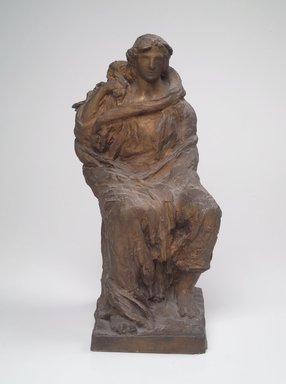 Helen Farnsworth Mears (American, 1871-1916). <em>Death Uncovering Its Face and Showing It To Be Life</em>, 1916. Bronze, 15 x 8 1/4 x 8 3/4 in. (38.1 x 21 x 22.2 cm). Brooklyn Museum, Gift of Mary Mears, 20.990.3. Creative Commons-BY (Photo: Brooklyn Museum, 20.990.3.jpg)