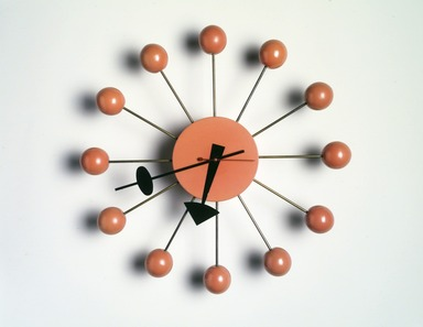 "Irving Harper (American, 1916-2015). <em>""Ball"" Wall Clock</em>, 1948-1969. Painted birch, steel, brass, 13 1/2 x 13 1/2 x 2 3/4 in. (34.3 x 34.3 x 7 cm). Brooklyn Museum, H. Randolph Lever Fund, 2000.101.1. Creative Commons-BY (Photo: Brooklyn Museum, 2000.101.1_transp4820.jpg)"