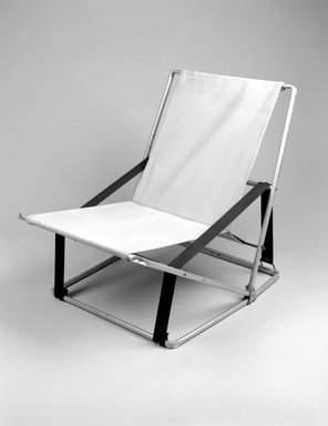 Henry (Heintz) P. Glass (American, born Austria, 1911-2003). <em>Folding Chair</em>, Designed 1961. Aluminum, canvas, synthetic webbing, 28 7/8 x 23 1/2 x 31 7/8 in. (73.3 x 59.7 x 81 cm). Brooklyn Museum, Modernism Benefit Fund, 2000.101.2. Creative Commons-BY (Photo: Brooklyn Museum, 2000.101.2_bw.jpg)