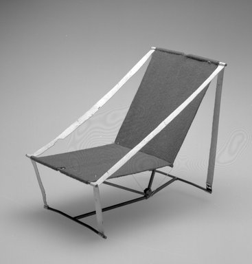 Henry (Heintz) P. Glass (American, born Austria, 1911-2003). <em>Folding Chair Model</em>, Designed 1961. Metal, textile, 7 1/4 x 5 3/4 x 8 1/4 in.  (18.4 x 14.6 x 21 cm). Brooklyn Museum, Modernism Benefit Fund, 2000.101.3. Creative Commons-BY (Photo: Brooklyn Museum, 2000.101.3_bw.jpg)