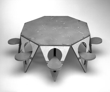 Henry (Heintz) P. Glass (American, born Austria, 1911-2003). <em>Folding Picnic Table Model</em>, Designed 1961. Painted wood, metal, textile, 6 1/8 x 17 1/4in. (15.6 x 43.8cm). Brooklyn Museum, Modernism Benefit Fund, 2000.101.4. Creative Commons-BY (Photo: Brooklyn Museum, 2000.101.4_bw.jpg)