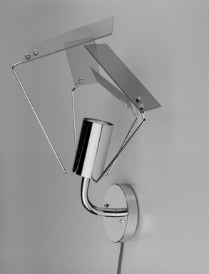 Harry Allen (American, born 1964). <em>Plato Wall Sconce</em>, Designed 1998. Metal, glass, electrical components, Mount only: 15 3/4 x 13 1/2 x 11 1/4 in. (40 x 34.3 x 28.6 cm), height varies with arrangement of shades. Brooklyn Museum, Gift of George Kovacs Lighting Inc., 2000.104a-e. Creative Commons-BY (Photo: Brooklyn Museum, 2000.104_bw.jpg)