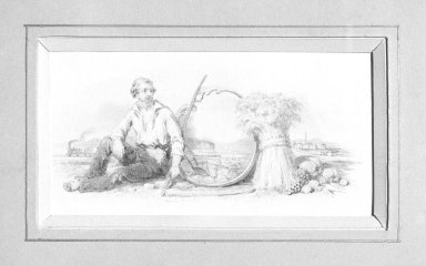 American. <em>Vignette K</em>, 1840s-1850s. Watercolor and graphite, 5 x 2 15/16 in.  (12.7 x 7.5 cm). Brooklyn Museum, Purchased with funds given by Mr. and Mrs. Leonard L. Milberg, 2000.106.11 (Photo: Brooklyn Museum, 2000.106.11_bw.jpg)