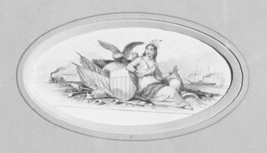 American. <em>Vignette L</em>, 1840s-1850s. Watercolor and graphite, 4 5/8 x 2 5/8 in.  (11.7 x 6.7 cm). Brooklyn Museum, Purchased with funds given by Mr. and Mrs. Leonard L. Milberg, 2000.106.12 (Photo: Brooklyn Museum, 2000.106.12_bw.jpg)