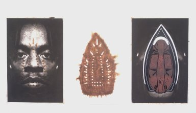 Willie Cole (American, born 1955). <em>Man Spirit Mask</em>, 1999. 3 panels of photoetching, silkscreen, and woodcut on paper (unframed), Each panel: 39 1/8 x 26 1/2 in. (99.4 x 67.3 cm). Brooklyn Museum, Emily Winthrop Miles Fund, 2000.109a-c. © artist or artist's estate (Photo: Brooklyn Museum, 2000.109a-c_transp5853.jpg)