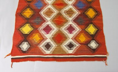 Navajo. <em>Weaving</em>, mid 19th or early 20th century. Wool, dye, 67 x 49 in. (170.2 x 124.5 cm). Brooklyn Museum, Gift of Samuel and Beatrice Klein, 2000.11.2. Creative Commons-BY (Photo: Brooklyn Museum, 2000.11.2_view1_PS5.jpg)