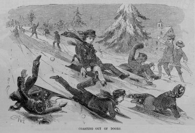 Winslow Homer (American, 1836-1910). <em>Coasting Out of Doors</em>, 1859. Wood engraving, image:  7 x 4 1/2 in.  (17.8 x 11.4 cm);. Brooklyn Museum, Gift of Harvey Isbitts, 2000.112.2b (Photo: Brooklyn Museum, 2000.112.2b_bw.jpg)