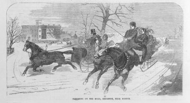 Winslow Homer (American, 1836-1910). <em>Sleighing on the Road</em>, 1859. Wood engraving, image:  9 3/8 x 4 5/16 in.  (23.8 x 11.0 cm);. Brooklyn Museum, Gift of Harvey Isbitts, 2000.112.4b (Photo: Brooklyn Museum, 2000.112.4b_bw.jpg)