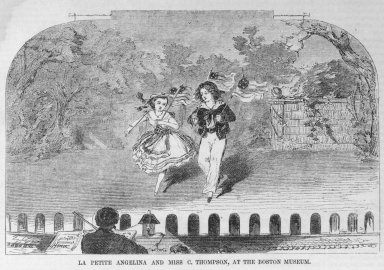 Winslow Homer (American, 1836-1910). <em>La Petite Angelina and Miss C. Thompson at the Boston Museum</em>, 1859. Wood engraving, image:6 7/8 x 4 1/2  in.  (17.5 x 11.4 cm);. Brooklyn Museum, Gift of Harvey Isbitts, 2000.112.6a (Photo: Brooklyn Museum, 2000.112.6a_bw.jpg)