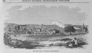 Winslow Homer (American, 1836-1910). <em>The New Town of Belmont, Massachusetts</em>, 1859. Wood engraving, sheet:   11 x 15 in.  (27.9 x 38.1 cm);. Brooklyn Museum, Gift of Harvey Isbitts, 2000.112.7 (Photo: Brooklyn Museum, 2000.112.7_bw.jpg)
