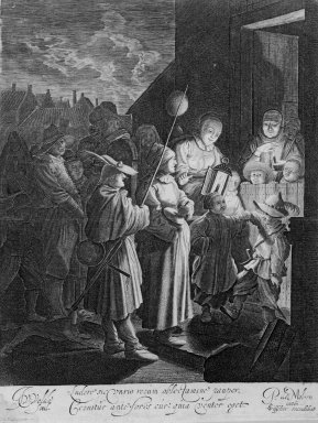 Jan van de Velde II (Dutch, 1593-1641). <em>Shrove-Tuesday</em>. Engraving, Sheet: 13 5/8 x 9 5/8 in.  (34.6 x 24.4 cm). Brooklyn Museum, Gift of John C. Quell, 2000.113.3 (Photo: Brooklyn Museum, 2000.113.3_bw.jpg)