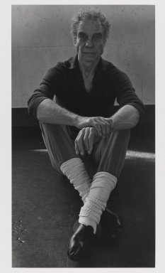 Arthur Mones (American, 1919-1998). <em>Merce Cunningham</em>. Gelatin silver photograph, image:  13 3/8 x 7 3/8 in.  (34.0 x 18.7 cm);. Brooklyn Museum, Gift of Wayne and Stephanie Mones at the request of their father, Arthur Mones, 2000.120.1. © artist or artist's estate (Photo: Brooklyn Museum, 2000.120.1_PS6.jpg)