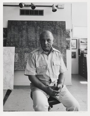 Arthur Mones (American, 1919-1998). <em>Jimmy Ernst</em>. Gelatin silver photograph, image:  13 1/2 x 10 1/2 in.  (34.3 x 26.7 cm);. Brooklyn Museum, Gift of Wayne and Stephanie Mones at the request of their father, Arthur Mones, 2000.120.2. © artist or artist's estate (Photo: Brooklyn Museum, 2000.120.2_PS6.jpg)