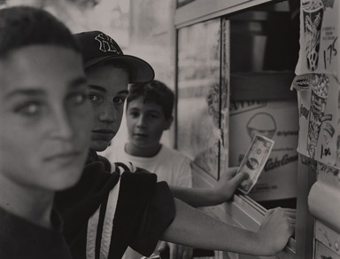 Gerard Vezzuso (American, born 1943). <em>Boys at Ice Cream Truck, Staten Island, NY</em>, 1999. Gelatin silver photograph, sheet: 20 7/8 x 24 7/8 in.  (53.0 x 63.2 cm). Brooklyn Museum, Gift of the artist, 2000.122.4. © artist or artist's estate (Photo: , 2000.122.4_PS9.jpg)