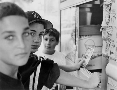 Gerard Vezzuso (American, born 1943). <em>Boys at Ice Cream Truck, Staten Island, NY</em>, 1999. Gelatin silver photograph, sheet: 20 7/8 x 24 7/8 in.  (53.0 x 63.2 cm). Brooklyn Museum, Gift of the artist, 2000.122.4. © artist or artist's estate (Photo: Brooklyn Museum, 2000.122.4_bw.jpg)