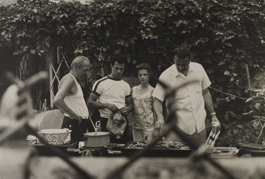 Gerard Vezzuso (American, born 1943). <em>Four People at the Barbecue, Bay Ridge, Brooklyn, NY</em>, 1971. Gelatin silver photograph, sheet: 20 7/8 x 24 7/8 in.  (53.0 x 63.2 cm). Brooklyn Museum, Gift of the artist, 2000.122.5. © artist or artist's estate (Photo: , 2000.122.5_PS9.jpg)