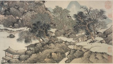 Attributed to Shen Zhou (Chinese, 1427-1509). <em>Mountains and Streams without End</em>, 1368-1644. Handscroll, Ink and color on paper, overall approx: 14 5/16 x 351 in.  (36.4 x 891.5 cm). Brooklyn Museum, Anonymous gift, 2000.124 (Photo: Brooklyn Museum, 2000.124_1.jpg)
