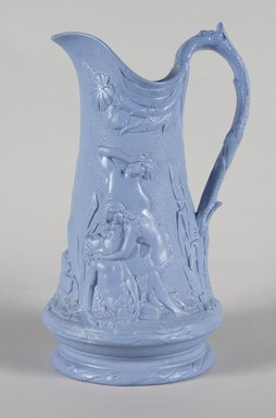 Attributed to Edward Walley, Villa Pottery (1845-1865). <em>Jug, Death of Abel Pattern</em>, ca. 1845. Matte blue stoneware, 9 1/4 x 5 1/2 x 5 1/8 in.  (23.5 x 14.0 x 13.0 cm). Brooklyn Museum, Gift of Gretchen Adkins, 2000.126.5. Creative Commons-BY (Photo: Brooklyn Museum, 2000.126.5_PS5.jpg)