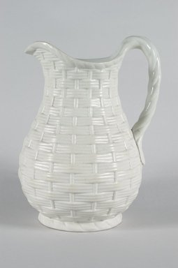Unknown. <em>Jug, Basket Weave Pattern</em>, ca. 1850. Matte white stoneware, 9 3/4 x 7 1/2 x 5 3/4 in.  (22.9 x 19.1 x 14.6 cm). Brooklyn Museum, Gift of Gretchen Adkins, 2000.126.6. Creative Commons-BY (Photo: Brooklyn Museum, 2000.126.6_PS5.jpg)