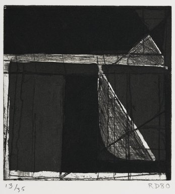Richard Diebenkorn (American, 1922-1993). <em>Isosceles Triangle and Right Triangle</em>, 1980. Aquatint and hard-ground etching, 5 7/8 x 5 3/4 in.  (14.9 x 14.6 cm). Brooklyn Museum, Gift of Ruth Bowman, 2000.129.1. © artist or artist's estate (Photo: Brooklyn Museum, 2000.129.1_PS2.jpg)
