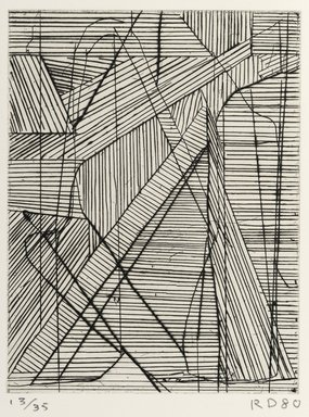 Richard Diebenkorn (American, 1922-1993). <em>Irregular Grid</em>, 1980. Drypoint and hard-ground etching, 6 1/2 x 5 in.  (16.5 x 14.6 cm). Brooklyn Museum, Gift of Ruth Bowman, 2000.129.2. © artist or artist's estate (Photo: Brooklyn Museum, 2000.129.2_PS2.jpg)