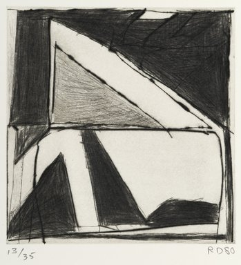 Richard Diebenkorn (American, 1922-1993). <em>Two Right Triangles</em>, 1980. Hard-ground etching, drypoint and roulette, 5 7/8 x 5 3/4 in.  (14.9 x 14.6 cm). Brooklyn Museum, Gift of Ruth Bowman, 2000.129.3. © artist or artist's estate (Photo: Brooklyn Museum, 2000.129.3_PS2.jpg)