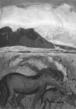 Malcolm Morley (American, born England, 1931-2018). <em>Devon Mares Over Lake Tahoe</em>, n.d. Silkscreen, frame: 54 x 39 6/16 in.  (137.2 x 100.0 cm). Brooklyn Museum, Gift of Joseph Levie, 2000.131. Creative Commons-BY (Photo: Brooklyn Museum, 2000.131_bw.jpg)