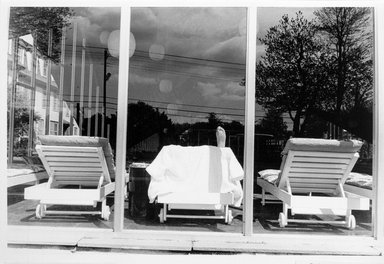 Joel Meyerowitz (American, born 1938). <em>Catskill Mountain Resort (Foot on Chaise in Window)</em>, 1965. Gelatin silver photograph, Sheet: 11 x 14 in. (27.9 x 35.6 cm). Brooklyn Museum, Gift of Julian and Elaine Hyman, 2000.132.6. © artist or artist's estate (Photo: Brooklyn Museum, 2000.132.6_bw.jpg)
