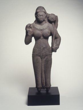 <em>Standing Female Divinity</em>, 4th century. Spotted red sandstone, 42 x 20 x 9 in. (106.7 x 50.8 x 22.9 cm). Brooklyn Museum, 2000.13. Creative Commons-BY (Photo: Brooklyn Museum, 2000.13_transp4795.jpg)