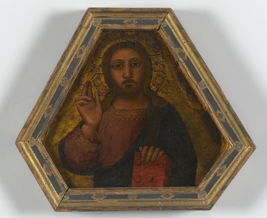 Nardo di Cione (Italian, Florentine, active 1343-1356/1366). <em>Christ Blessing</em>, mid 14th century. Tempera and tooled gold on panel, 8 x 9 in. (20.3 x 22.9 cm). Brooklyn Museum, Purchased with funds given by The Dave H. and Reba W. Williams Foundation, Healy Purchase Fund B, and the Mary Smith Dorward Fund, gift of George S. Hellman, by exchange, 2000.27 (Photo: Brooklyn Museum, 2000.27_PS1.jpg)