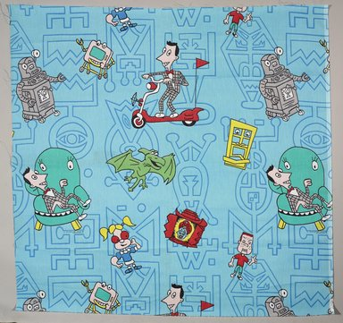 Herman Toys, Inc.. <em>Textile Sample</em>, 1986-1990. Printed synthetic fiber, 45 x 46 1/2 in.  (114.3 x 118.1 cm). Brooklyn Museum, Gift of Dr. Barry R. Harwood, 2000.2 (Photo: Brooklyn Museum, 2000.2_PS9.jpg)