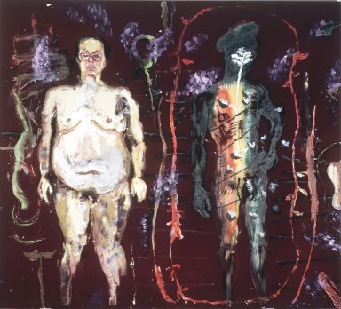 Julian Schnabel (American, born 1951). <em>Rockets Redglare in Paradise</em>, 1984. Oil, modeling paste on velvet, 108 x 102 in.  (274.3 x 259.1 cm). Brooklyn Museum, Gift of Mr. and Mrs. Samuel H. Lindenbaum, 2000.54. © artist or artist's estate (Photo: Brooklyn Museum, 2000.54_transp3637.jpg)