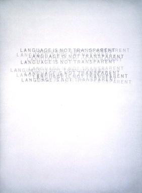 Mel Bochner (American, born 1940). <em>Language is Not Transparent</em>, 1999. Paper pulp, 39 1/4 x 29 1/2 in.  (99.7 x 74.9 cm). Brooklyn Museum, Emily Winthrop Miles Fund, 2000.55. © artist or artist's estate (Photo: Brooklyn Museum, 2000.55_transp5855.jpg)