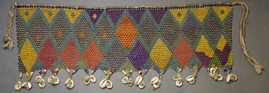 Kirdi. <em>Pubic Apron</em>, mid-20th century. Glass beads, cotton, cowrie shells, 7 x 18 3/4 in.  (17.8 x 47.6 cm). Brooklyn Museum, Gift of Mark S. Rapoport, M.D. and Jane C. Hughes, 2000.69.12. Creative Commons-BY (Photo: Brooklyn Museum, 2000.69.12_front_PS10.jpg)