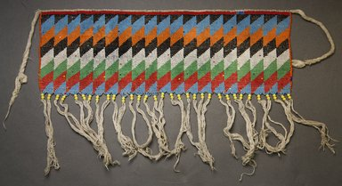 Kirdi. <em>Pubic Apron</em>, mid-20th century. Glass beads, cotton, 6 1/2 x 17 1/2 in.  (16.5 x 44.5 cm). Brooklyn Museum, Gift of Mark S. Rapoport, M.D. and Jane C. Hughes, 2000.69.14. Creative Commons-BY (Photo: Brooklyn Museum, 2000.69.14_front_PS10.jpg)