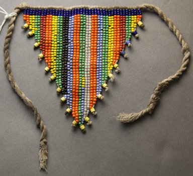 Kirdi. <em>Child's Pubic Apron</em>, mid-20th century. Glass beads, cotton, 5 x 4 1/2 in.  (12.7 x 11.4 cm). Brooklyn Museum, Gift of Mark S. Rapoport, M.D. and Jane C. Hughes, 2000.69.8. Creative Commons-BY (Photo: Brooklyn Museum, 2000.69.8_front_PS10.jpg)