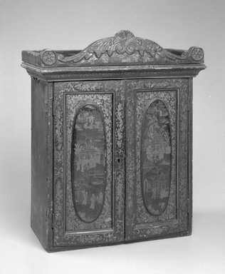 Chinese. <em>Cabinet</em>, ca. 1825. Lacquered wood, 20 1/4 x 16 1/2 x 9 in.  (51.4 x 41.9 x 22.9 cm). Brooklyn Museum, Gift of Virginia Manbeck, 2000.7. Creative Commons-BY (Photo: Brooklyn Museum, 2000.7_view1_bw.jpg)