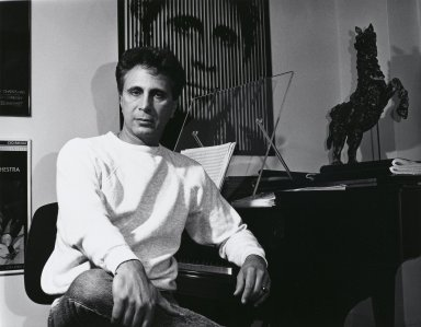 Arthur Mones (American, 1919-1998). <em>John Corigliano</em>, 1992. Gelatin silver photograph, image: 10 1/2 × 13 1/2 in. (26.7 × 34.3 cm). Brooklyn Museum, Gift of Wayne and Stephanie Mones at the request of their father, Arthur Mones, 2000.89.1. © artist or artist's estate (Photo: Brooklyn Museum, 2000.89.1_PS4.jpg)