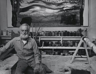Arthur Mones (American, 1919-1998). <em>Paul Jenkins</em>, 1981. Gelatin silver photograph, image:  10 1/2 x 13 1/2 in.  (26.7 x 34.3 cm);. Brooklyn Museum, Gift of Wayne and Stephanie Mones at the request of their father, Arthur Mones, 2000.89.24. © artist or artist's estate (Photo: Brooklyn Museum, 2000.89.24_PS4.jpg)