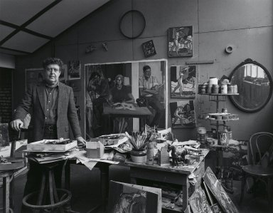 Arthur Mones (American, 1919-1998). <em>Leland Bell</em>, 1980. Gelatin silver photograph, image:  10 1/2 x 13 1/2 in.  (26.7 x 34.3 cm);. Brooklyn Museum, Gift of Wayne and Stephanie Mones at the request of their father, Arthur Mones, 2000.89.26. © artist or artist's estate (Photo: Brooklyn Museum, 2000.89.26_PS4.jpg)
